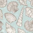 Vector pattern with sea shells — Stock Vector