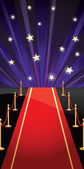 Vector background with red carpet and stars — Stock Vector