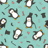 Seamless background with funny penguins — Vector de stock