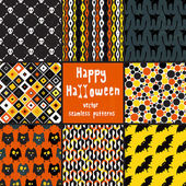 Collection of halloween seamless patterns. — Stock Vector