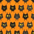 Vector de stock : Halloween owl seamless. Vector background.