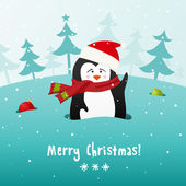 Cute Christmas penguin. Vector background. — Stock Vector