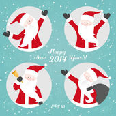 Vector Christmas set with Santa — Stockvector