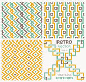 Set of vector seamless textures in retro style. — Vettoriale Stock