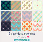 Set of 12 seamless patterns with hearts — Stock Vector
