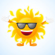 Happy sunny character in sunglasses — Stock Vector