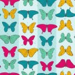 Stock Vector: Seamless pattern with colorful butterflies