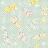 Delicate seamless pattern with butterflies — Vector de stock