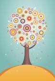 Cartoon tree with flowers — Stock Vector