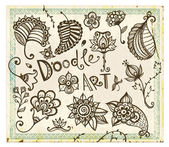 Doodle floral design elements. Vector set. — Stok Vektör