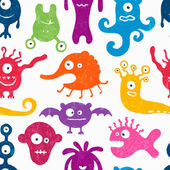 Seamless pattern with funny monsters. — Stock Vector