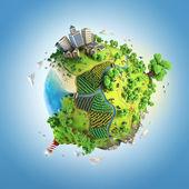 Concetto di globo dell'idilliaco mondo verde — Foto Stock