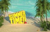 Summer time tropical beach top view — Stock Photo