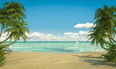 Karaibski sielankowej plaży widok miejsce — Zdjęcie stockowe