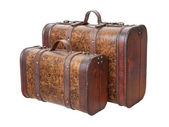 Two Vintage Suitcases Isolated on white — Stock Photo