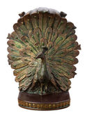 Bronze Peacock Bookend Isolated — Stock Photo
