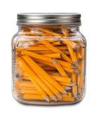 Golf-Bleistifte in einem Glas isoliert — Stockfoto