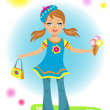The beauty little girl with ice cream — Stock Vector