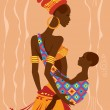 Beautiful african mother and her baby in a sling — Stock Vector