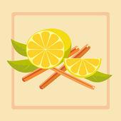 Vector illustration of lemon and cinnamon — Stockvektor