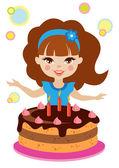 Liten flicka och tårta — Stockvektor