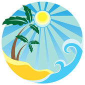 Tropical palms on the island in the sea — Stock Vector