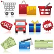Stok Vektör: Shopping and Business Icons