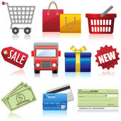Shopping and Business Icons — Stock Vector