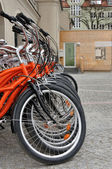 Red city bikes — Fotografia Stock