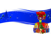 Elves on dark blue background — Stock Photo
