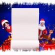 Happy enjoying santa claus with sign and gifts — Stock Photo