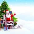 Santa claus on iceland with many gifts — Stock Photo #13699313