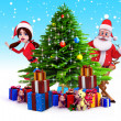 Santa claus on iceland with many gifts - Stock Photo