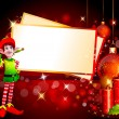 Christmas elves with red color background - Stock Photo