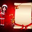Santa girl on red color background - Stock Photo