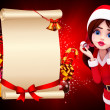 Santa girl on red color background - Zdjęcie stockowe