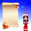 Santa girl with gifts - Stock Photo