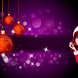 Santa girl with purple background - Stock Photo