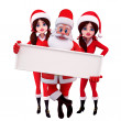 Santa girl with sign - Stock Photo