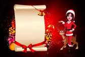 Santa girl na červené barvy pozadí — Stock fotografie