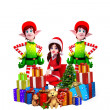 Stock Photo: Happy elves with gift box