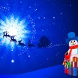 Snowman on blue christmas background with moon — Stock Photo