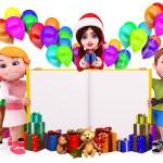 Christmas big sign with santa and kids — Stock Photo #13700539