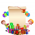 Christmas big sign with santa and kids — Stock Photo #13700552