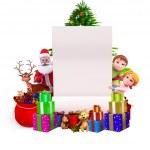 Christmas big sign with santa and kids — Stock Photo #13700560
