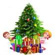 Royalty-Free Stock Photo: Kids with christmas tree