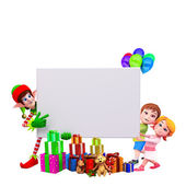 Christmas big sign with santa and kids — Stock Photo