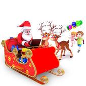 Barn med jultomten — Stockfoto