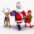 Santa claus with gifts and deer — Stock Photo #13757019