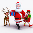 Santa claus with gifts and deer — Stock Photo